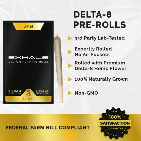 delta-8 pre-rolls federal farm bill compliant 3rd party tested 100% naturally grown non-gmo