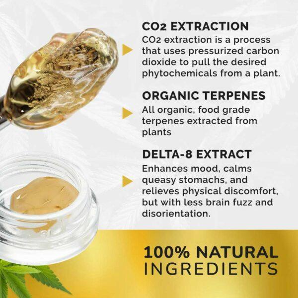 100% natural ingredients delta-8 extract organic terpenes co2 extraction