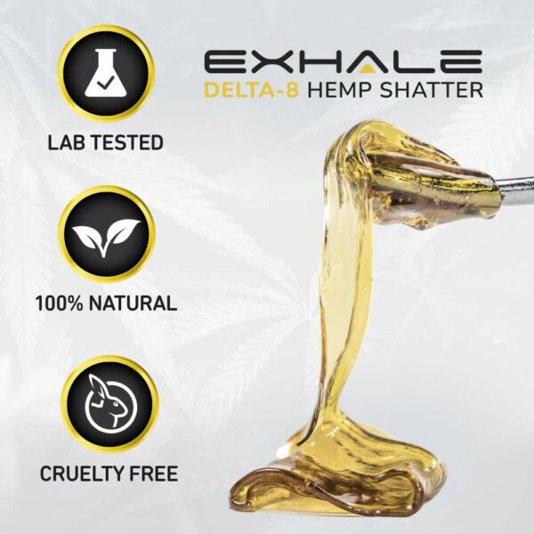 Exhale Delta-8 hemp shatter lab tested 100% natural cruelty free