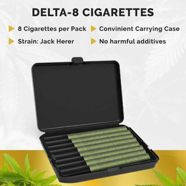 delta-8 hemp sticks cigarattes 8 per pack convinient carrying case no harmful additives