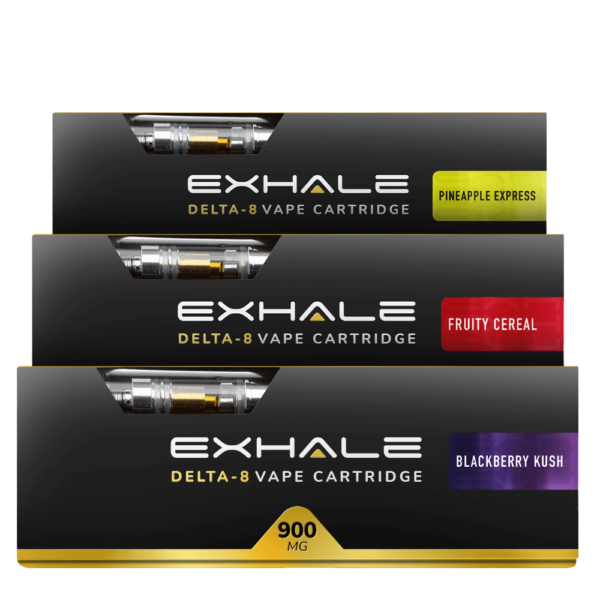 Exhale Delta-8 vape cartridge bundle 3 carts pineapple express fruity cereal blackberry kush