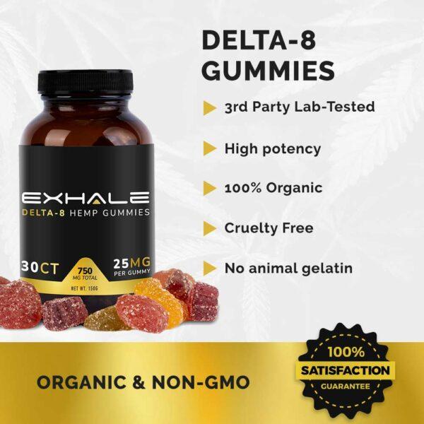 delta-8 gummies 3rd party lab tested high potency cruelty free no animal gelatin organic non-gmo 100% satisfaction guarantee