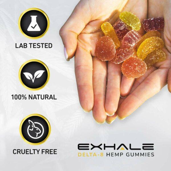 exhale delta 8 hemp gummies lab tested 100% natural cruelty free
